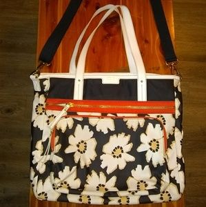 Fossil large floral crossbody diaper laptop bag